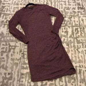 Long Sleeved Ruched Sheath Dress Heather Burgundy